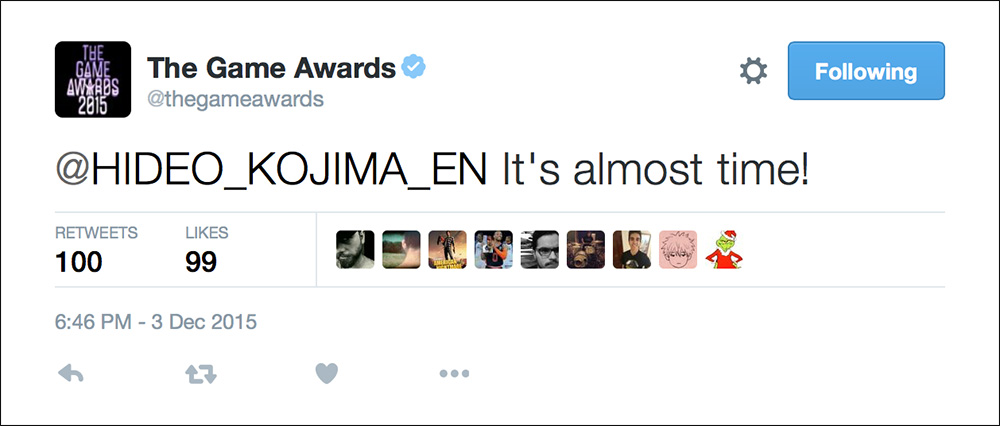 TGA-2015-Kojima-Almost-Time-Tweet