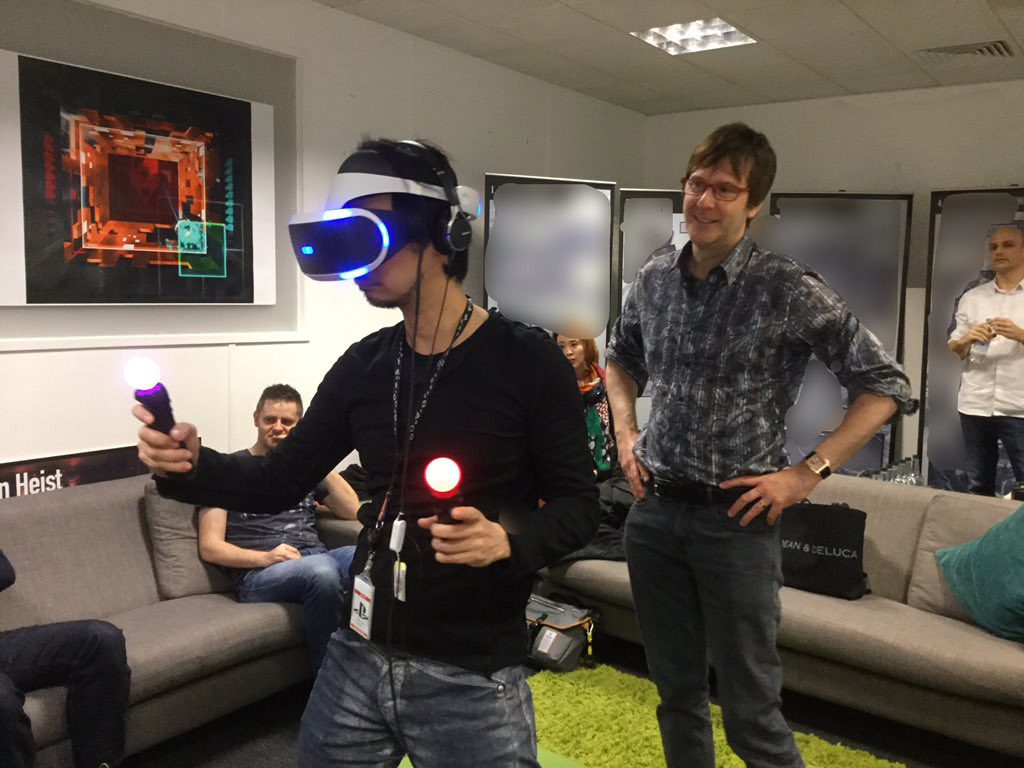 """Visiting London VR team. Blurred out part of photo is the plan for their next VR experience -- sorry!"" - Mark Cerny"