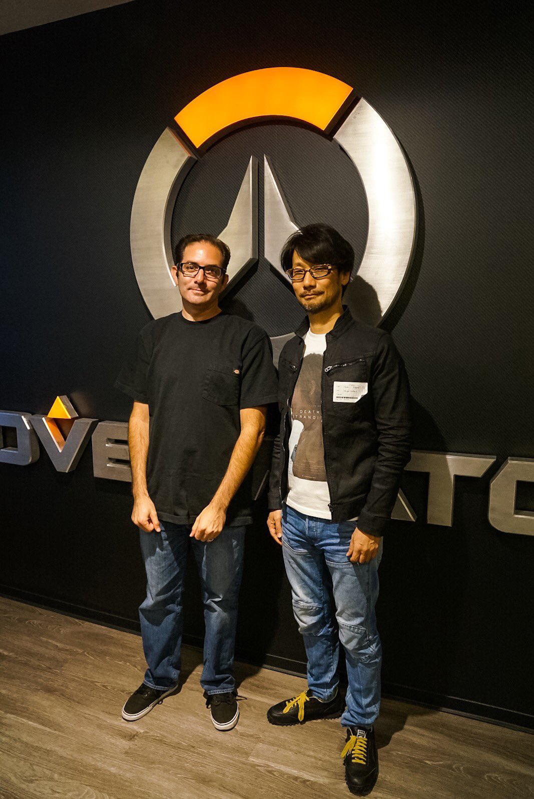 """Visited BLIZZARD in Irvine, California. Photo with Jeff-san, the game director of OVERWATCH."" - Hideo Kojima"