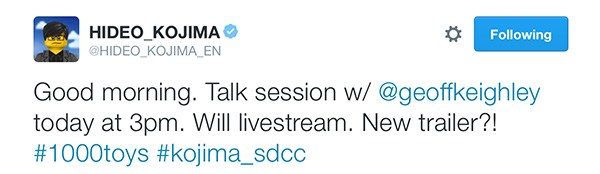 Kojima-Comic-Con-Talk-Hideo-Tweet