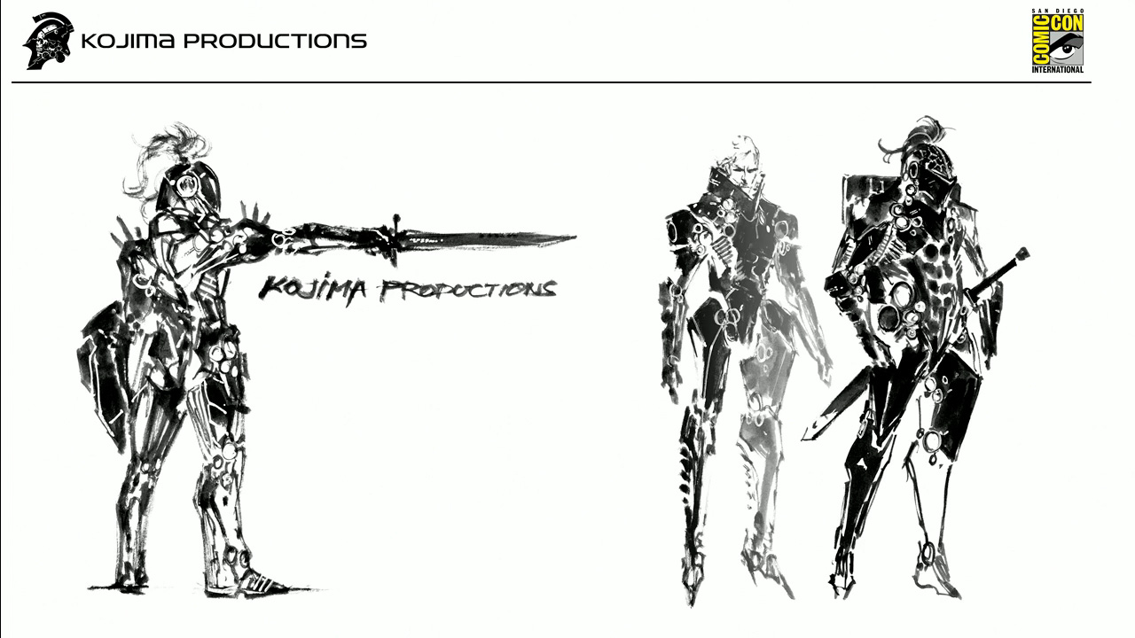 The one on the left is the first design Shinkawa came up with, but it looked too battle-oriented. Kojima wanted it to be a blend between an extra vehicular suit and an armor, so the designs kept evolivng in that direction. The design on the right looked too much like a robot, and Kojima wanted it to be clear there is a person inside.