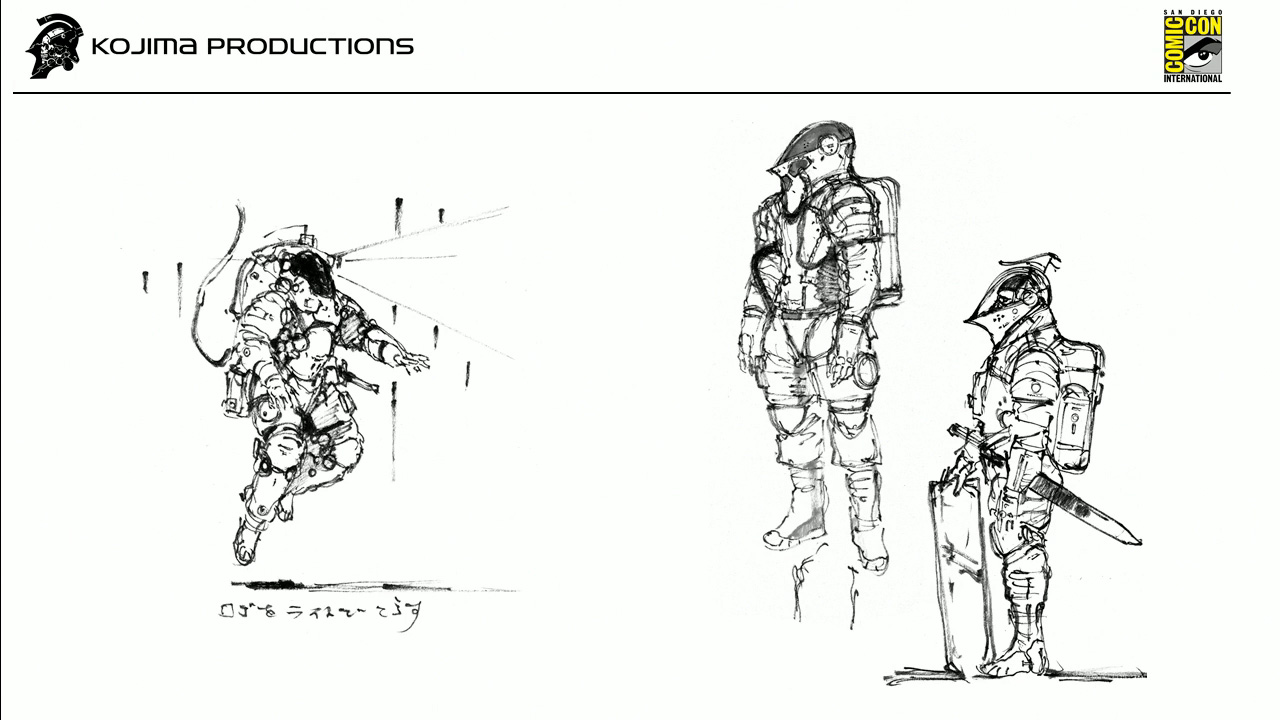 The one on the left looked too much like a space suit. For the ones on the right, Kojima really liked the way the helmet looked: a blend between a space helmet and a medieval knight's helmet. The addition to the backpack as well, which made it look more like a space suit, was closer to the look Kojima wanted for the character.