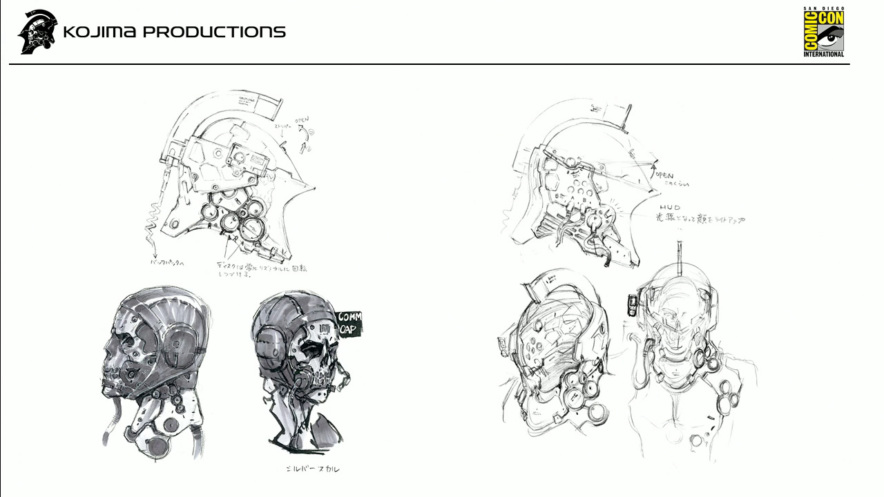 Designs of inside the helmet. Kojima wanted it to have an actual person inside, not a robot. The part of the helmet that covers the face is inspired by medieval Japanese armor.